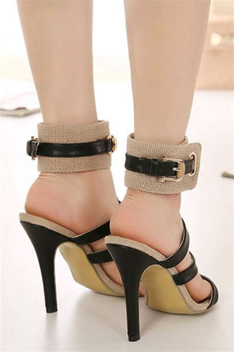 Heels Import Apricot Black apricot black open toe ankle gladiator heels 018311 fashion high heels shoes cheap