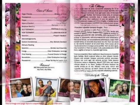 free obituary layout design funeral program template mother funeral program youtube