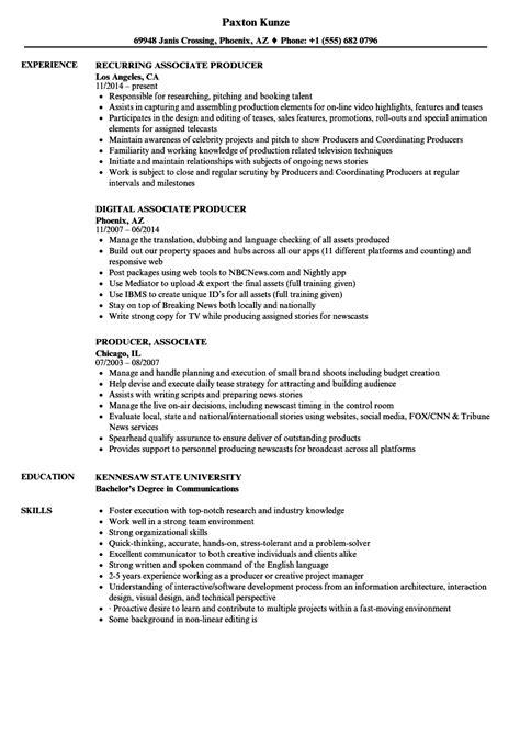 producer associate resume sles velvet