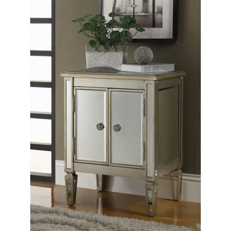 mirrored accent cabinet antique silver entrance contemporary 2 door mirrored accent cabinet coaster 950214
