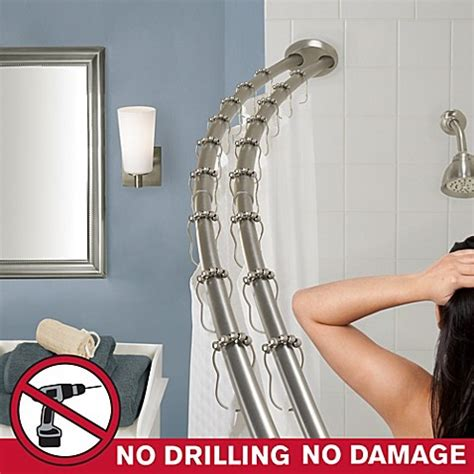 double curved tension shower curtain rod the gripper double curved shower rod bed bath beyond