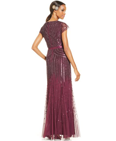 cap sleeve beaded sequined gown papell cap sleeve beaded sequined gown in pink lyst