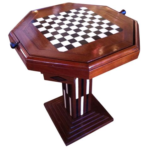 chess table art deco game table chess checkers backgammon sold items