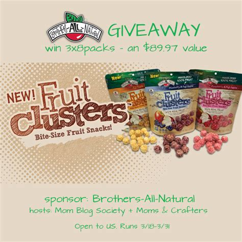 Fruit Giveaway - brothers all natural fruit clusters giveaway mom blog society