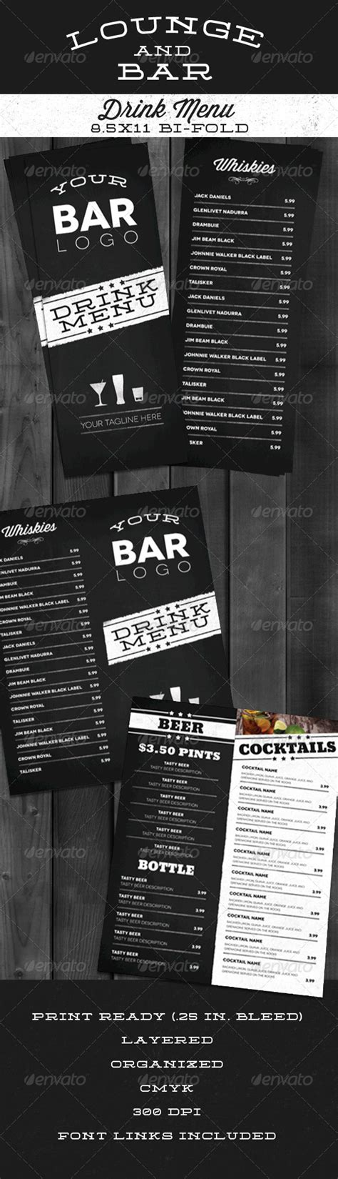 Lounge Bar Drink Menu Modern By Nathanknight Graphicriver Sports Bar Menu Template