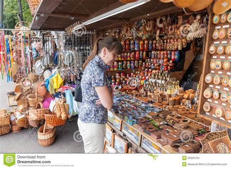 choose russian handmade souvenirs at the gift shop