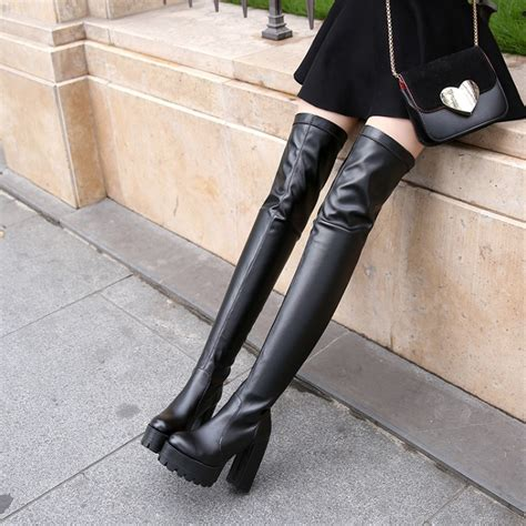 aliexpress buy the knee boots thick heel