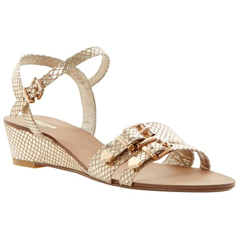 dune heels sandals dune gail leather wedge buckle sandals in gold lyst