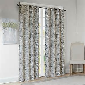 Paisley Window Curtains Buy Park Ronan Cotton Paisley 84 Inch Window Curtain Panel In Grey From Bed Bath Beyond