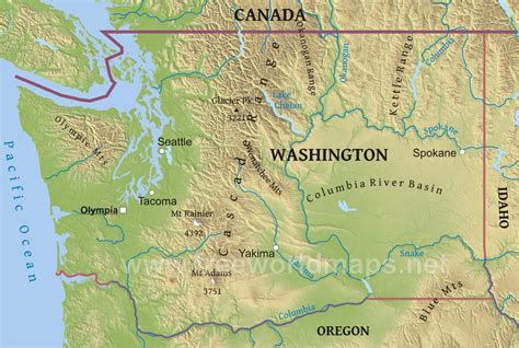 a physical map of washington washington map state
