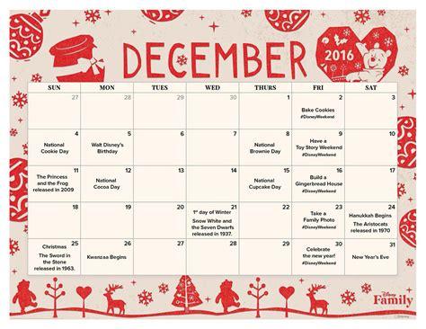 printable calendar 2016 disney december 2016 printable calendar disney family