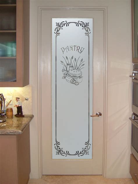 Etched Glass Panels And Decorative Panel Door Pantry Etched Glass Pantry Doors Kitchen