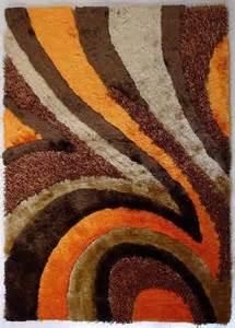 4 ft x 6 ft tufted brown orange living room shaggy