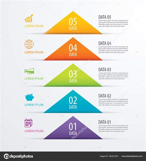 5 triangle timeline infographic options paper template
