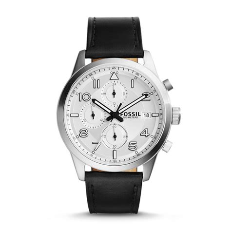 fossil cb5 leather black daily chronograph black leather fossil