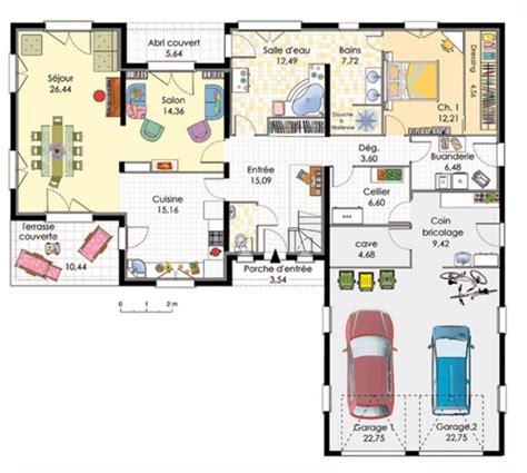 Carport Garage Plans by Plan Maison En L Avec Garage Pour 2 Voitures Plans Amp Maisons