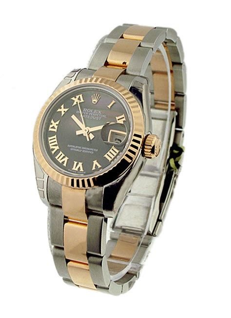 Rolex Oyster Datejust Rg Sepasang 179171 rolex datejust 26mm 2 tone rg ss oyster bracelet fluted bezel essential watches