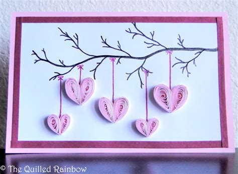 s day cards handmade cards for happy s day quilled hanging hearts handmade hearts hanging from a branch card s day