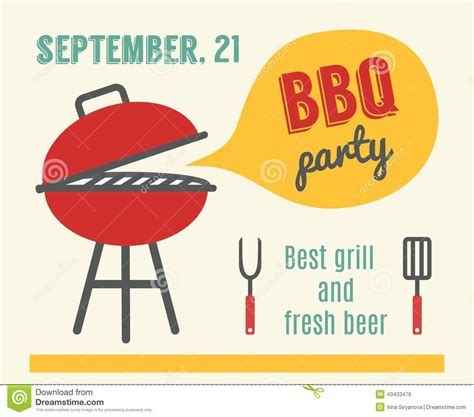 Park Flyers Backyard Flyers Bbq Party Barbeque And Grill Cooking Flat Design Stock