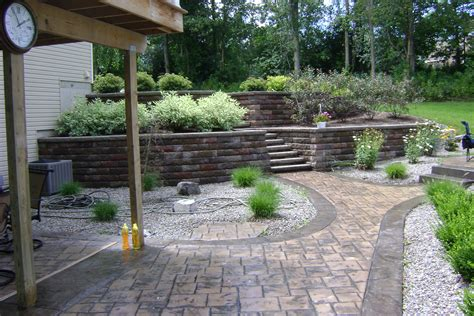 sted concrete patio with retaining wall nucrete