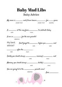 free baby mad libs game baby advice baby shower ideas themes games