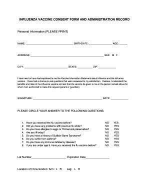 Fillable Online Sandy Utah Flu Shot Consent Form Sandy City Sandy Utah Fax Email Print Flu Vaccine Consent Form Template