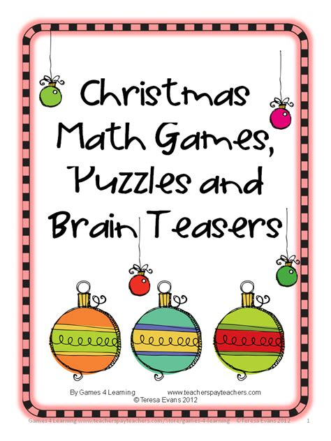 printable christmas mind games fun games 4 learning my products