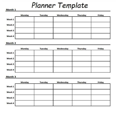 three month planning calendar template daily workout planner template calendar 2018