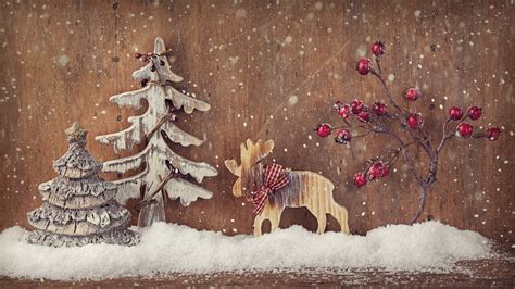 wallpaper christmas  year deer fir tree elk decorations snow holidays