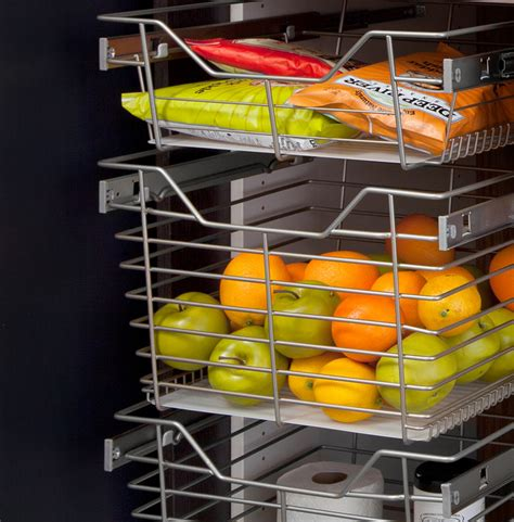 pantry sliding chrome baskets modern pantry cabinets