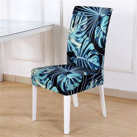 dark blue tropical palm leaf pattern dining chair cover