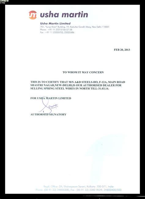 certification letter for dealership usha martin usha martin wire dealer usha martin