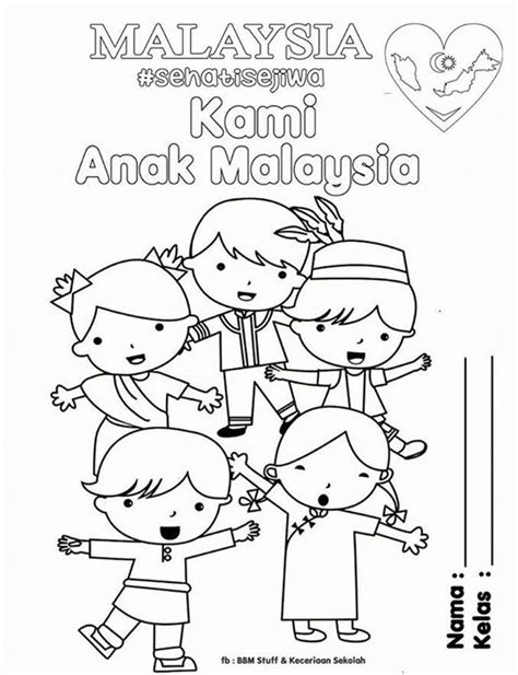 the malaysia national day sehati sejiwa colouring page picolour