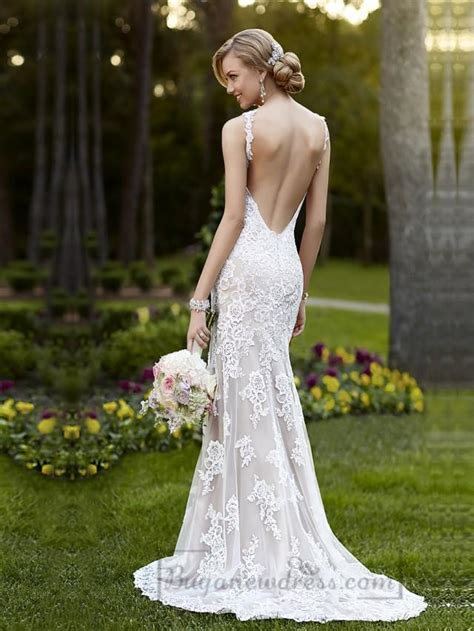 elegant straps sheath over wedding dress with low