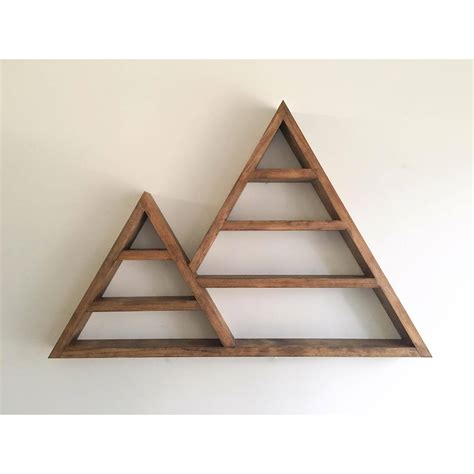triangle wall shelf triangle shelf crystal shelf shadow box wood shelf