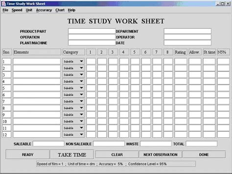 time motion study excel template computer aided time motion study