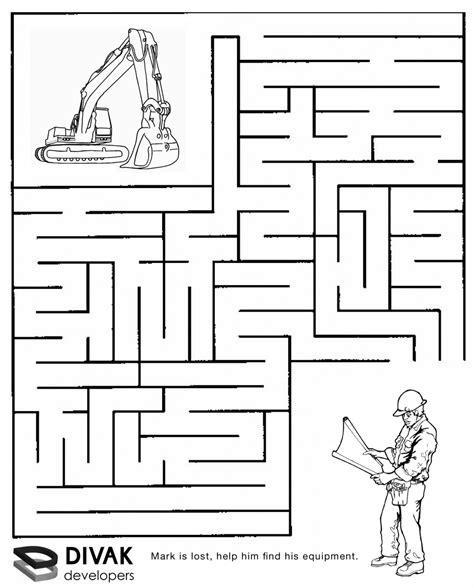 printable mazes word searches construction maze summer c construction pinterest