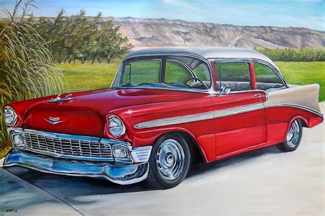 old cars vintage car custom classic car original oil painting old