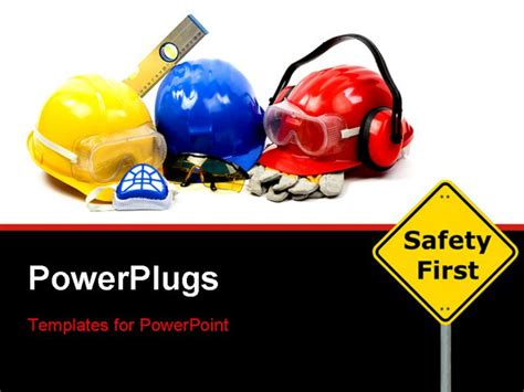 Safety Gear Kit Close Up Over White Powerpoint Template Free Safety Powerpoint Templates