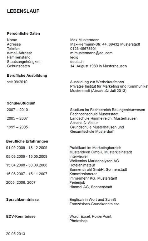 lettere commerciali tedesco esempi di curricula in tedesco modello curriculum