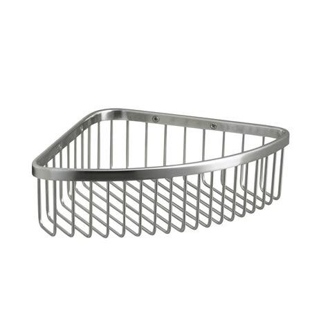 bathroom corner basket kohler large shower basket in polished stainless k 1897 s