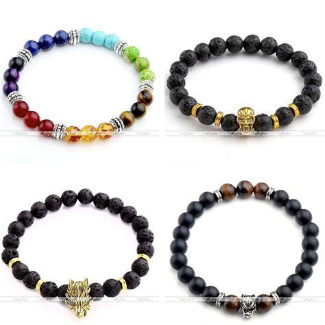 mens womens lava rock gemstone bead buddha skull hamsa