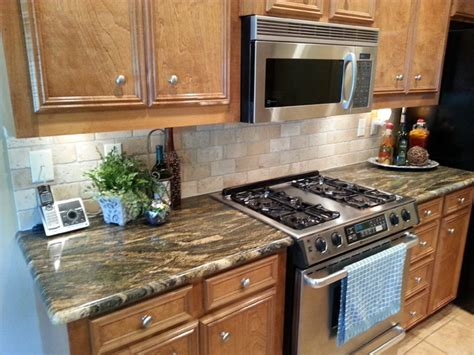 Kitchen With Stone Backsplash Kitchen Remodel Magma Gold Granite With Tile Backsplash