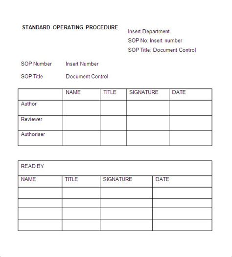 standard will template free sop template standard operating procedure template free