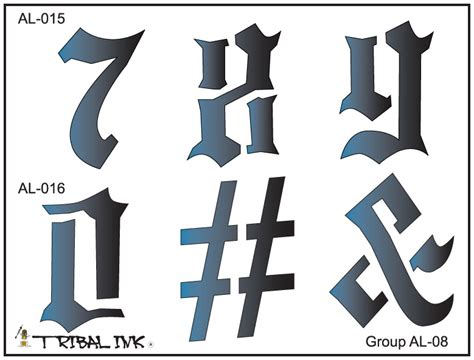 tribal tattoo numbers airbrush stencil set numbers large 08
