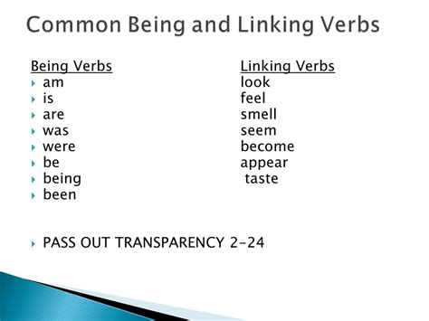 linking verbs and being verbs ppt