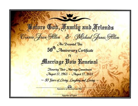 Sacred Golden Shimmer Marriage Vow Renewal Certificate 50th Anniversary Pinterest Wedding Anniversary Certificate Template