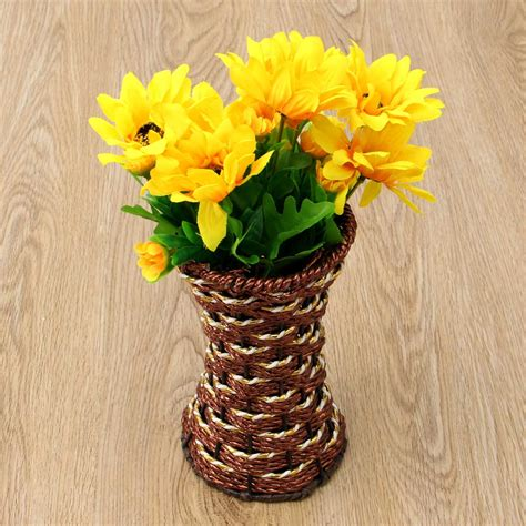 Square Flower Vases by Artificial Rattan Square Flower Vase Storage Basket Garden