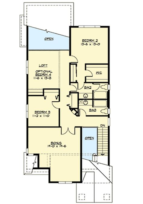 mission style in two versions 36346tx 2nd floor master suite butler walk in pantry cad narrow lot craftsman in two versions 23276jd 1st floor