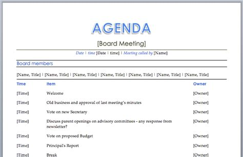 templates for agenda in word meeting agenda template word peerpex
